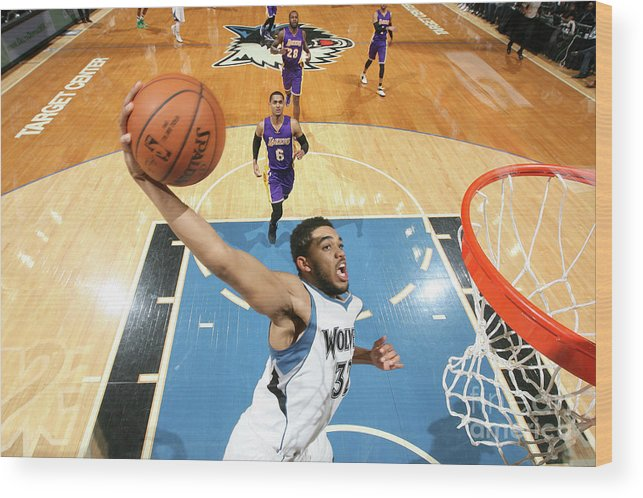 Nba Pro Basketball Wood Print featuring the photograph Los Angeles Lakers V Minnesota by David Sherman