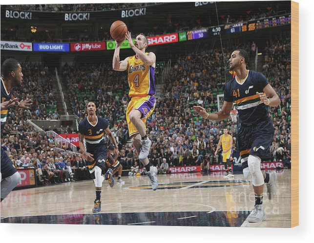 Nba Pro Basketball Wood Print featuring the photograph Los Angeles Lakers V Utah Jazz by Melissa Majchrzak