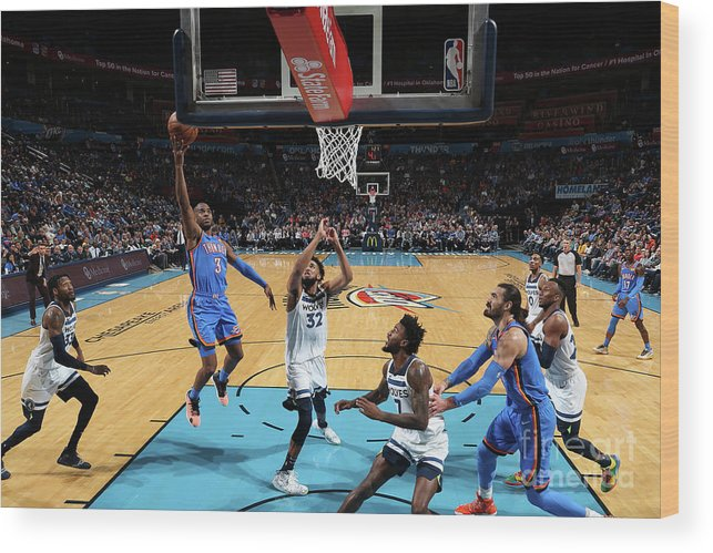 Nba Pro Basketball Wood Print featuring the photograph Minnesota Timberwolves V Oklahoma City by Zach Beeker