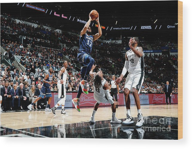 Nba Pro Basketball Wood Print featuring the photograph Minnesota Timberwolves V San Antonio by Chris Covatta