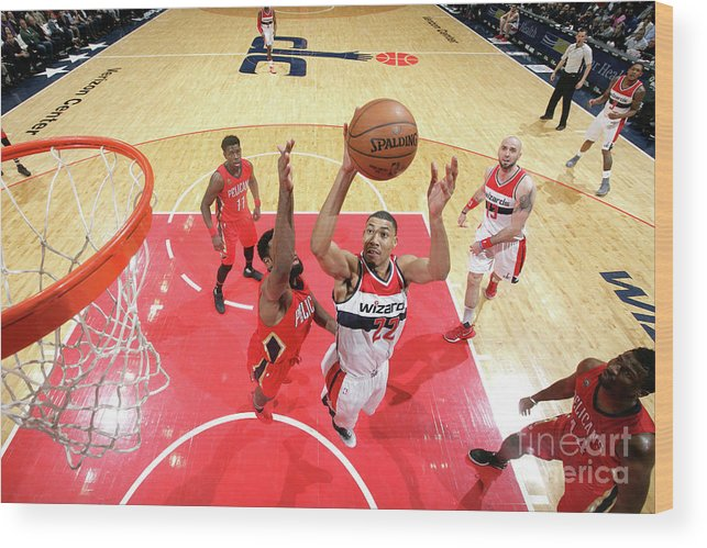 Nba Pro Basketball Wood Print featuring the photograph New Orleans Pelicans V Washington by Ned Dishman