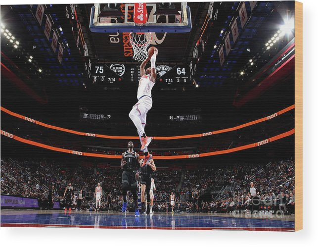 Nba Pro Basketball Wood Print featuring the photograph New York Knicks V Detroit Pistons by Brian Sevald