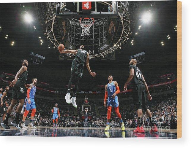 Nba Pro Basketball Wood Print featuring the photograph Oklahoma City Thunder V Minnesota by David Sherman