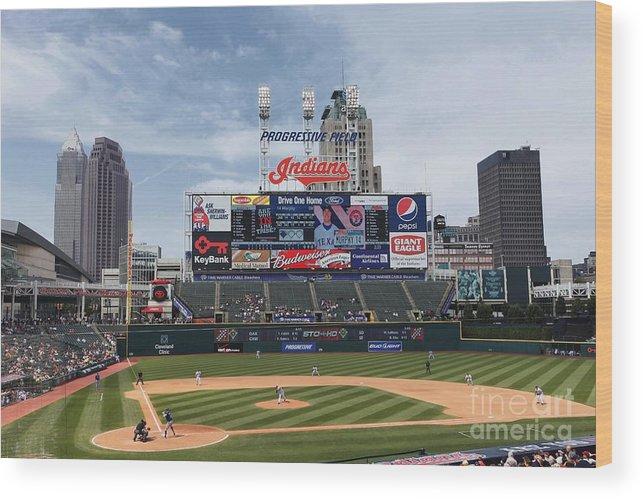 American League Baseball Wood Print featuring the photograph Texas Rangers V Cleveland Indians by Joe Robbins