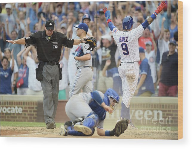 People Wood Print featuring the photograph Toronto Blue Jays V Chicago Cubs by Stacy Revere