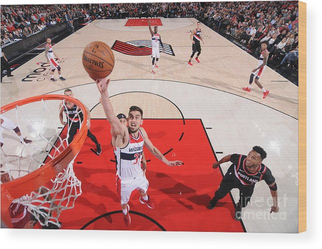 Nba Pro Basketball Wood Print featuring the photograph Washington Wizards V Portland Trail by Sam Forencich