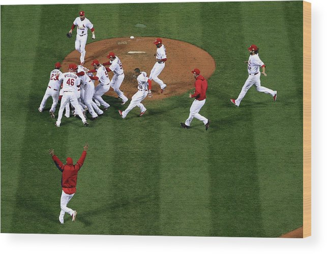 St. Louis Cardinals Wood Print featuring the photograph 2011 World Series Game 7 - Texas by Doug Pensinger