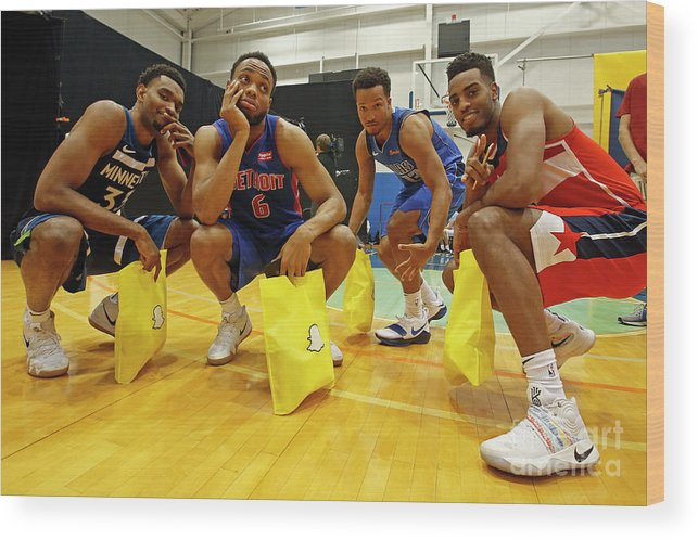 Nba Pro Basketball Wood Print featuring the photograph 2018 Nba Rookie Photo Shoot by Michelle Farsi