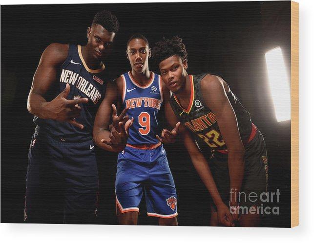 Nba Pro Basketball Wood Print featuring the photograph 2019 Nba Rookie Photo Shoot by Brian Babineau