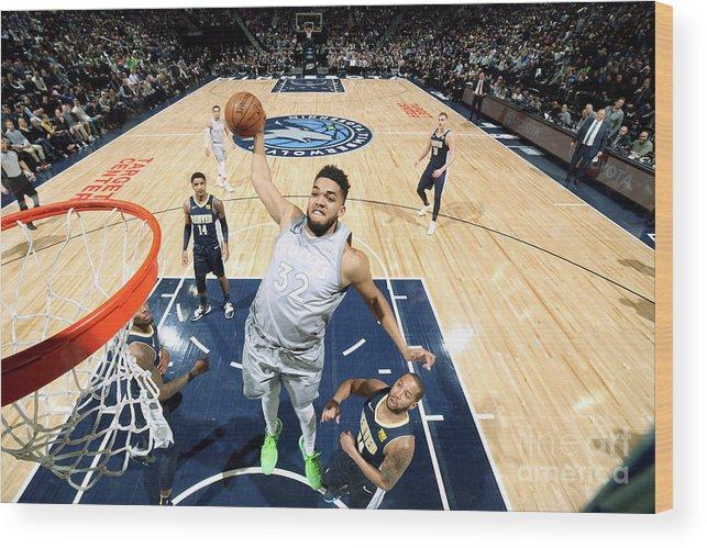 Nba Pro Basketball Wood Print featuring the photograph Denver Nuggets V Minnesota Timberwolves by David Sherman