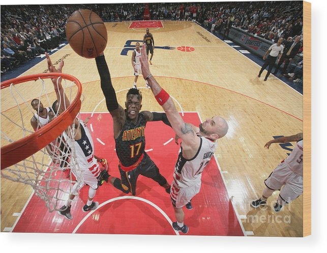Playoffs Wood Print featuring the photograph Atlanta Hawks V Washington Wizards by Ned Dishman