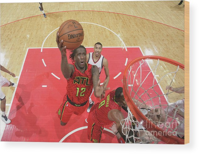 Playoffs Wood Print featuring the photograph Atlanta Hawks V Washington Wizards - by Ned Dishman
