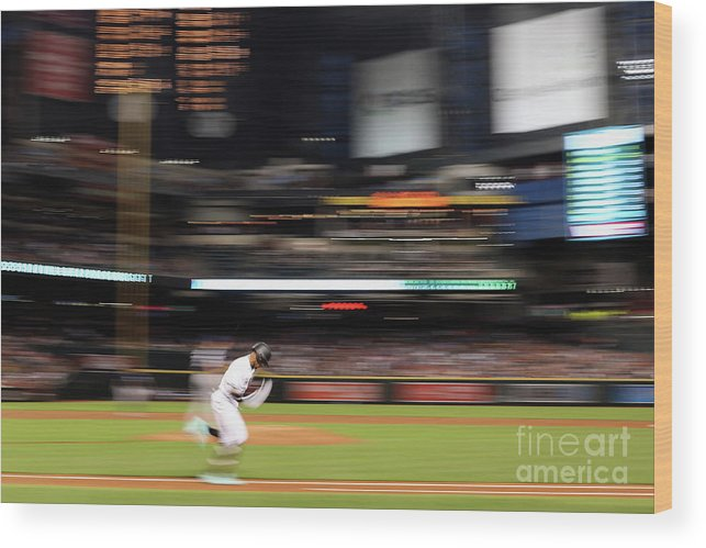 American League Baseball Wood Print featuring the photograph San Diego Padres V Arizona Diamondbacks by Christian Petersen