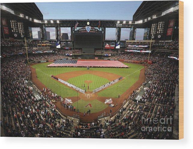 American League Baseball Wood Print featuring the photograph Colorado Rockies V Arizona Diamondbacks by Christian Petersen