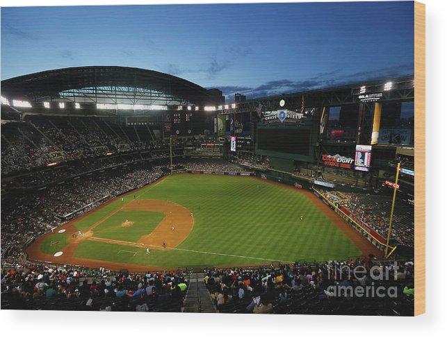 American League Baseball Wood Print featuring the photograph San Francisco Giants V Arizona by Christian Petersen