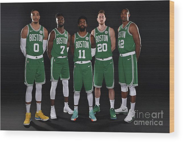 Media Day Wood Print featuring the photograph 2018-19 Boston Celtics Media Day by Brian Babineau