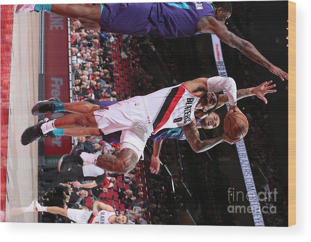 Nba Pro Basketball Wood Print featuring the photograph Charlotte Hornets V Portland Trail by Sam Forencich
