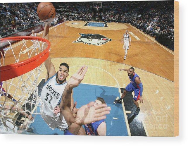 Nba Pro Basketball Wood Print featuring the photograph Detroit Pistons V Minnesota Timberwolves by David Sherman