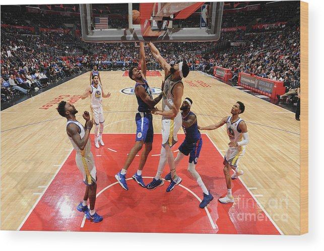 Nba Pro Basketball Wood Print featuring the photograph Golden State Warriors V La Clippers by Andrew D. Bernstein