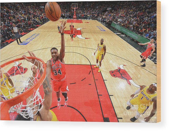 Nba Pro Basketball Wood Print featuring the photograph Los Angeles Lakers V Chicago Bulls by Jesse D. Garrabrant