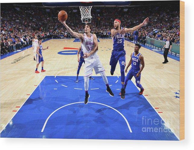 Nba Pro Basketball Wood Print featuring the photograph Minnesota Timberwolves V Philadelphia by Jesse D. Garrabrant