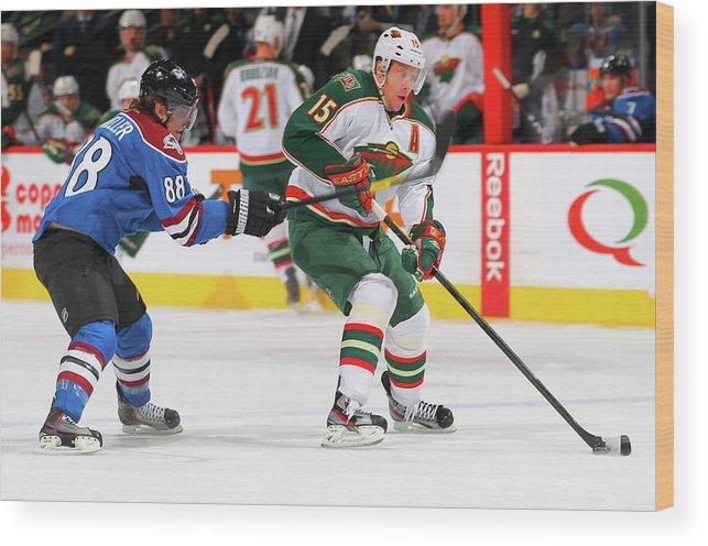 National Hockey League Wood Print featuring the photograph Minnesota Wild V Colorado Avalanche by Doug Pensinger