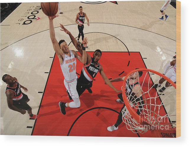 Nba Pro Basketball Wood Print featuring the photograph New York Knicks V. Trail Blazers by Cameron Browne