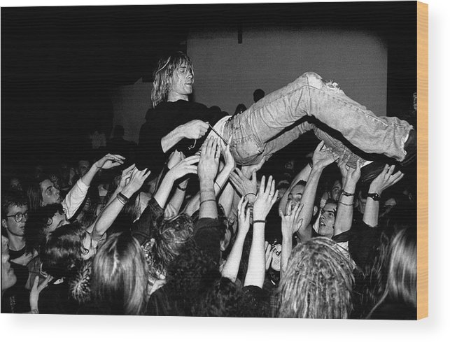 Singer Wood Print featuring the photograph Nirvana Perform Live In Frankfurt by Paul Bergen