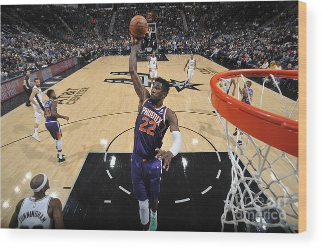 Nba Pro Basketball Wood Print featuring the photograph Phoenix Suns V San Antonio Spurs by Mark Sobhani