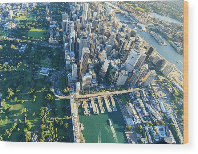 Shadow Wood Print featuring the photograph Sydney Downtown - Aerial View by Btrenkel
