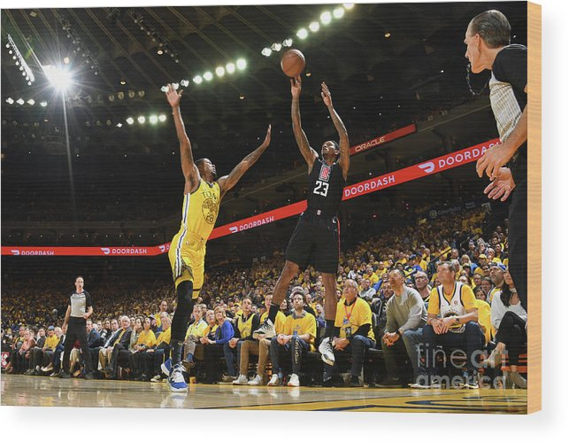 Playoffs Wood Print featuring the photograph La Clippers V Golden State Warriors - by Noah Graham