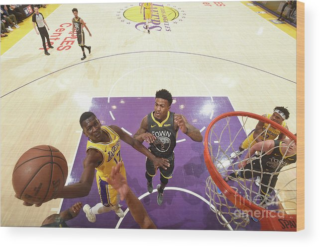 Nba Pro Basketball Wood Print featuring the photograph Golden State Warriors V Los Angeles by Andrew D. Bernstein