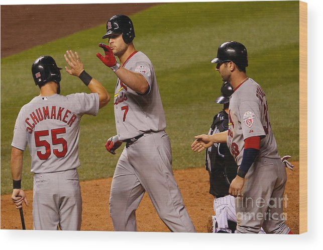 American League Baseball Wood Print featuring the photograph St Louis Cardinals V Colorado Rockies by Doug Pensinger