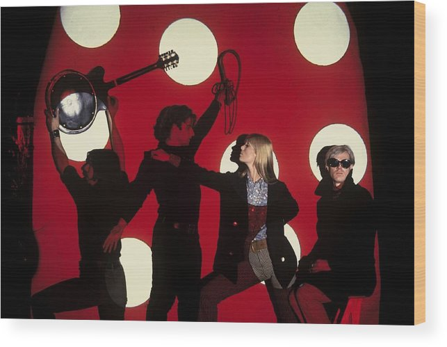 Singer Wood Print featuring the photograph Andy Warhol In New York, United States by Herve Gloaguen