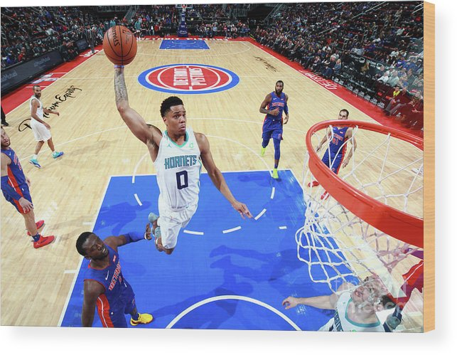 Nba Pro Basketball Wood Print featuring the photograph Charlotte Hornets V Detroit Pistons by Brian Sevald