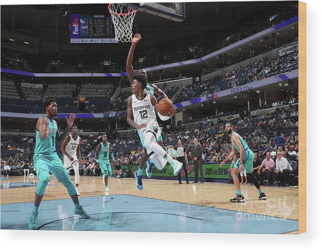 Nba Pro Basketball Wood Print featuring the photograph Charlotte Hornets V Memphis Grizzlies by Joe Murphy