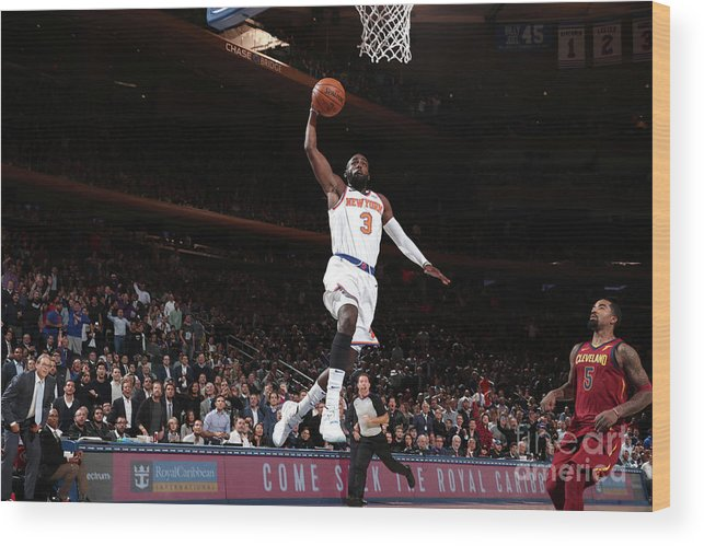 Tim Hardaway Jr. Wood Print featuring the photograph Cleveland Cavaliers V New York Knicks by Nathaniel S. Butler