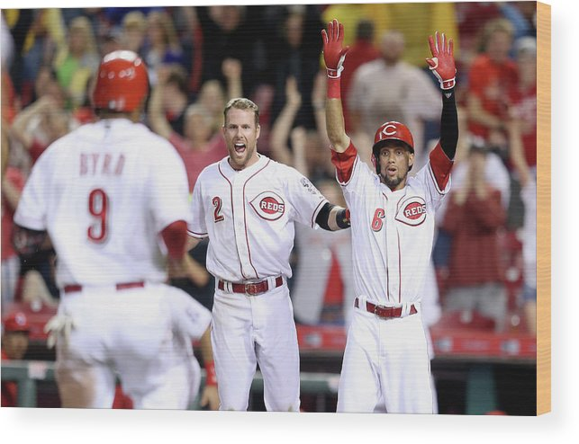Great American Ball Park Wood Print featuring the photograph Colorado Rockies V Cincinnati Reds by Andy Lyons