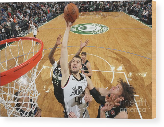Nba Pro Basketball Wood Print featuring the photograph La Clippers V Milwaukee Bucks by Gary Dineen