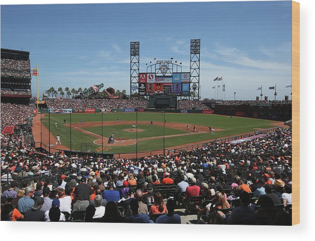 San Francisco Wood Print featuring the photograph Los Angeles Dodgers V. San Francisco by Brad Mangin
