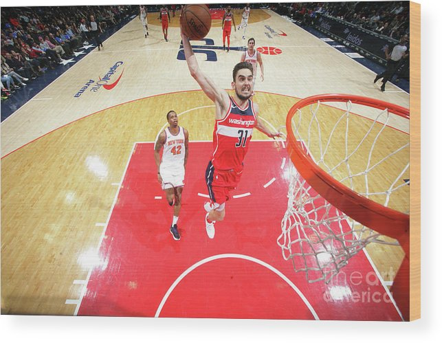 Nba Pro Basketball Wood Print featuring the photograph New York Knicks V Washington Wizards by Ned Dishman