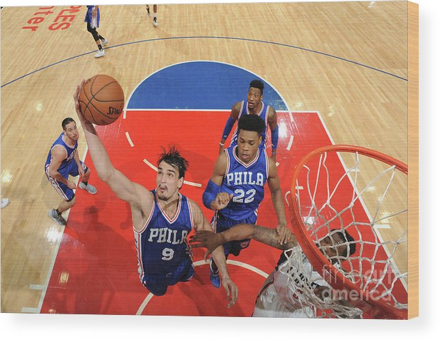 Nba Pro Basketball Wood Print featuring the photograph Philadelphia 76ers V La Clippers by Andrew D. Bernstein
