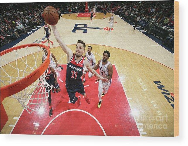 Nba Pro Basketball Wood Print featuring the photograph Philadelphia 76ers V Washington Wizards by Ned Dishman