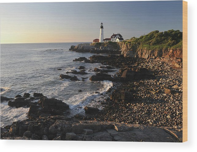 Water's Edge Wood Print featuring the photograph Portland Head Light by Aimintang