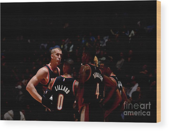 Nba Pro Basketball Wood Print featuring the photograph Portland Trail Blazers V Denver Nuggets by Bart Young