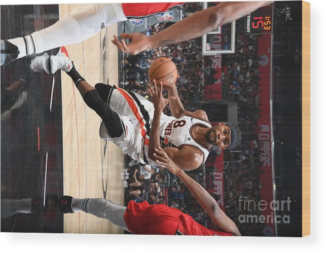 Moe Harkless Wood Print featuring the photograph Portland Trail Blazers V La Clippers by Andrew D. Bernstein
