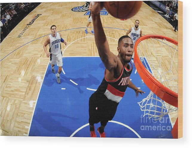 Moe Harkless Wood Print featuring the photograph Portland Trail Blazers V Orlando Magic by Fernando Medina