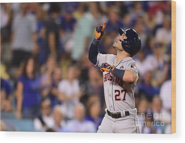 Game Two Wood Print featuring the photograph World Series - Houston Astros V Los by Harry How