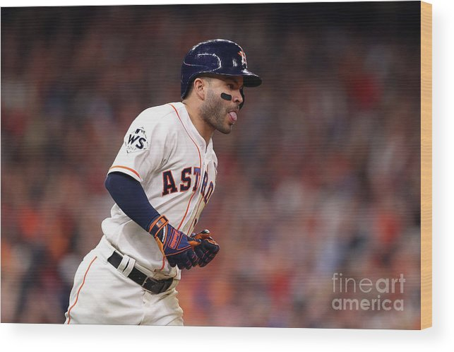 Three Quarter Length Wood Print featuring the photograph World Series - Los Angeles Dodgers V by Christian Petersen