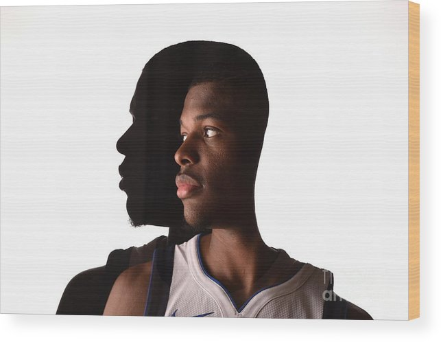 Looking Over Shoulder Wood Print featuring the photograph 2017 Nba Rookie Photo Shoot by Brian Babineau